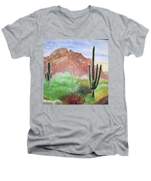 2 Saguaros Men's V-Neck T-Shirt
