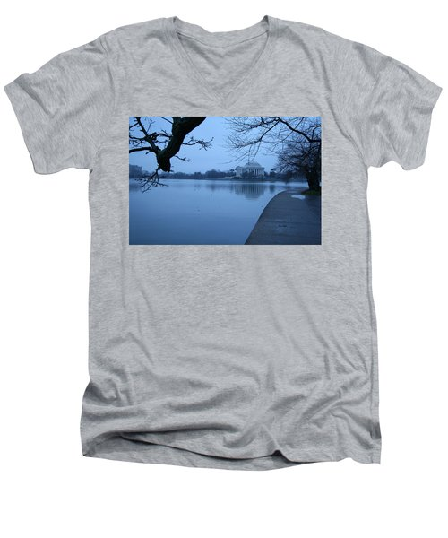 Men's V-Neck T-Shirt featuring the photograph A Blue Morning For Jefferson by Cora Wandel