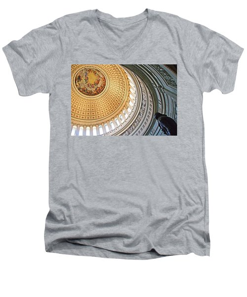 Men's V-Neck T-Shirt featuring the photograph A Capitol Rotunda by Cora Wandel
