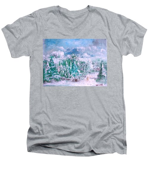 A Natural Christmas Men's V-Neck T-Shirt by Laurie L