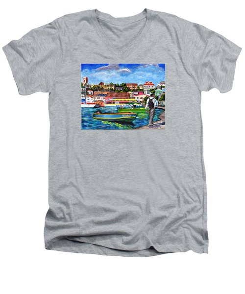 A Stroll On The Carenage Men's V-Neck T-Shirt by Laura Forde