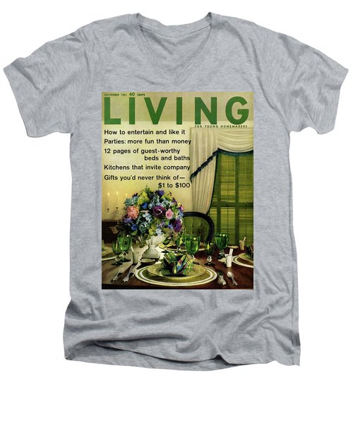 A Table Setting With A Floral Centerpiece Men's V-Neck T-Shirt