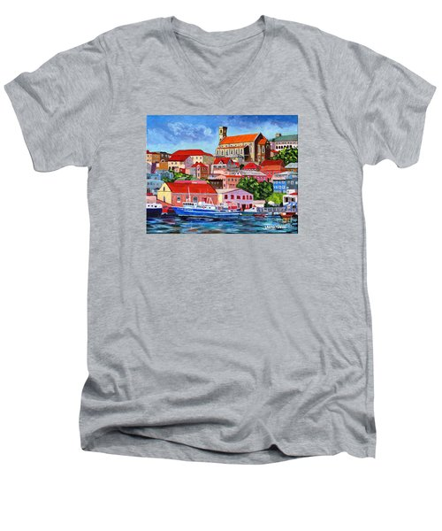 A View Of The Carenage Men's V-Neck T-Shirt by Laura Forde