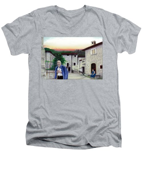 Men's V-Neck T-Shirt featuring the painting A Walk With Dante by Albert Puskaric
