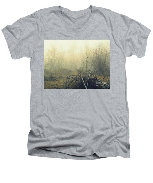 Abstract Forest Men's V-Neck T-Shirt by France Laliberte