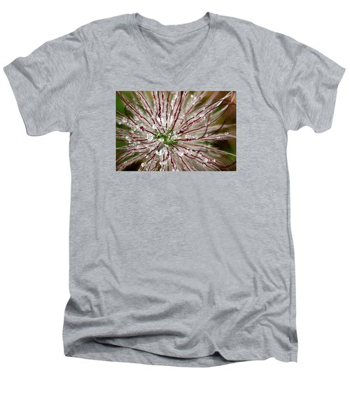 Men's V-Neck T-Shirt featuring the photograph Abstract Macro Flower Head by Dreamland Media