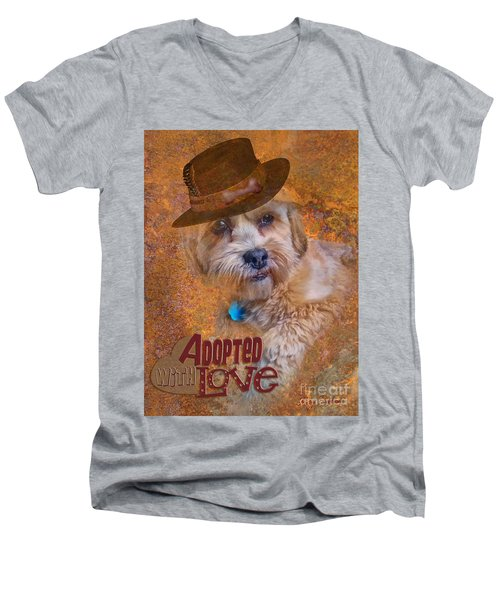 Men's V-Neck T-Shirt featuring the digital art Adopted With Love by Kathy Tarochione