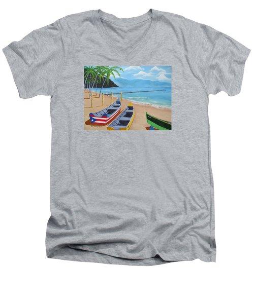 Aguadilla Crashboat Beach Men's V-Neck T-Shirt by Luis F Rodriguez