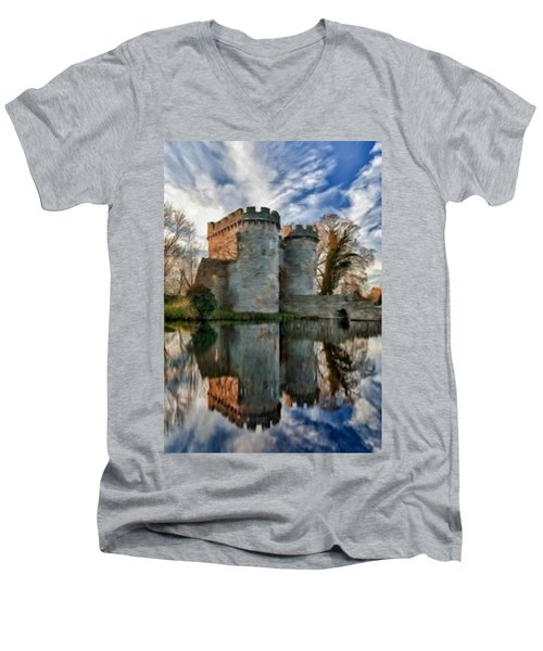 Ancient Whittington Castle In Shropshire England Men's V-Neck T-Shirt