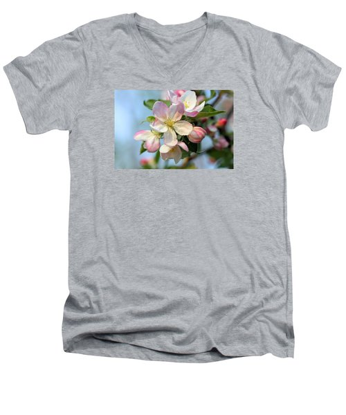 Men's V-Neck T-Shirt featuring the photograph Apple Blossom by Kristin Elmquist