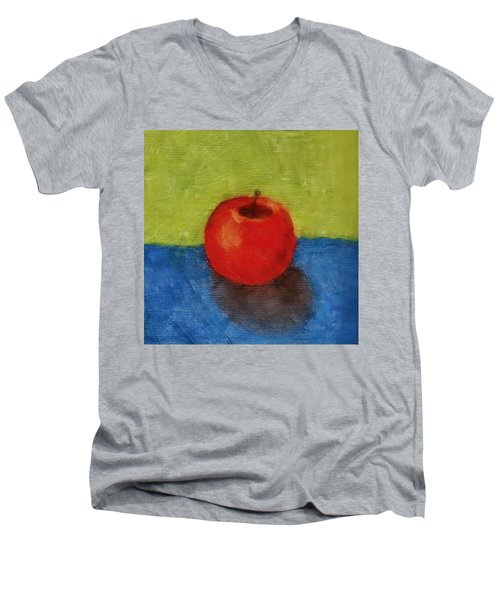 Apple With Green And Blue Men's V-Neck T-Shirt