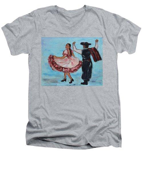 Argentinian Folk Dance Men's V-Neck T-Shirt by Xueling Zou
