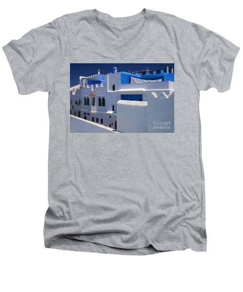 Men's V-Neck T-Shirt featuring the photograph Asilah Meaning Authentic In Arabic Fortified Town On Northwest Tip Of Atlantic Coast Of Morocco by Ralph A  Ledergerber-Photography
