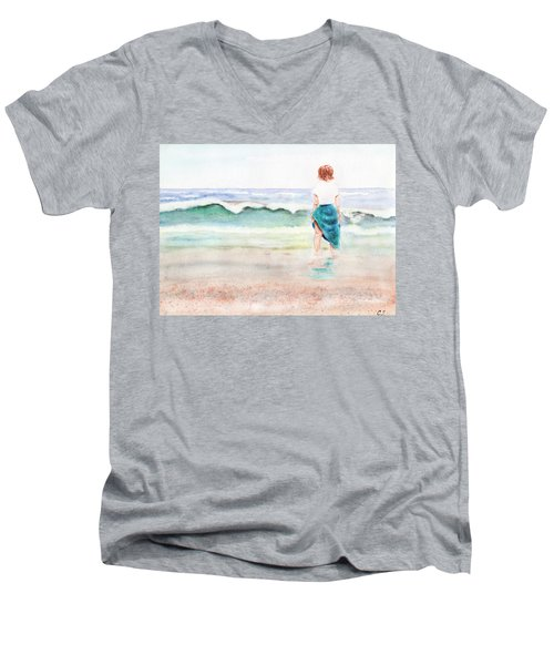 At The Beach Men's V-Neck T-Shirt by C Sitton
