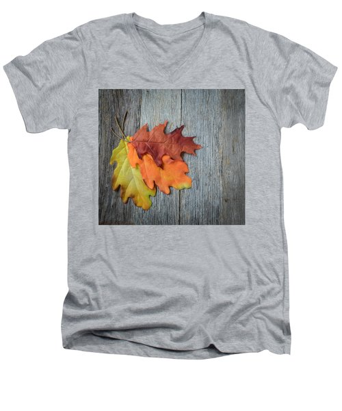 Autumn Leaves On Rustic Wooden Background Men's V-Neck T-Shirt