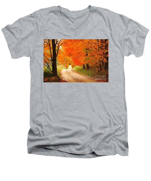 Men's V-Neck T-Shirt featuring the photograph Autumn Trail by Terri Gostola
