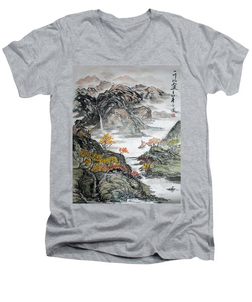 Men's V-Neck T-Shirt featuring the painting Autumn  by Yufeng Wang