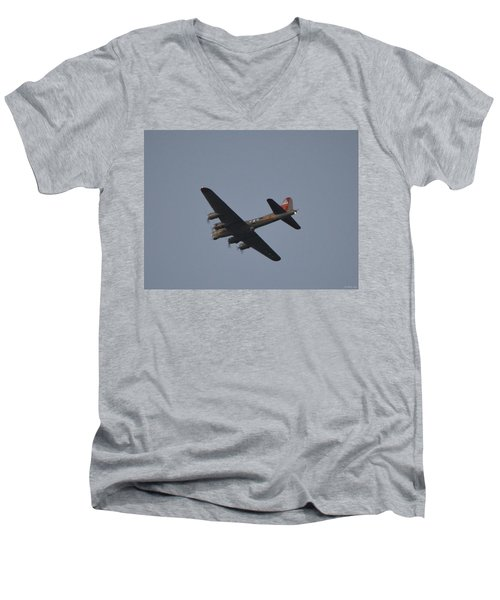 Men's V-Neck T-Shirt featuring the photograph B-17 Flying Fortress Wwii Bomber Over Santa Rosa Sound At Twilight by Jeff at JSJ Photography