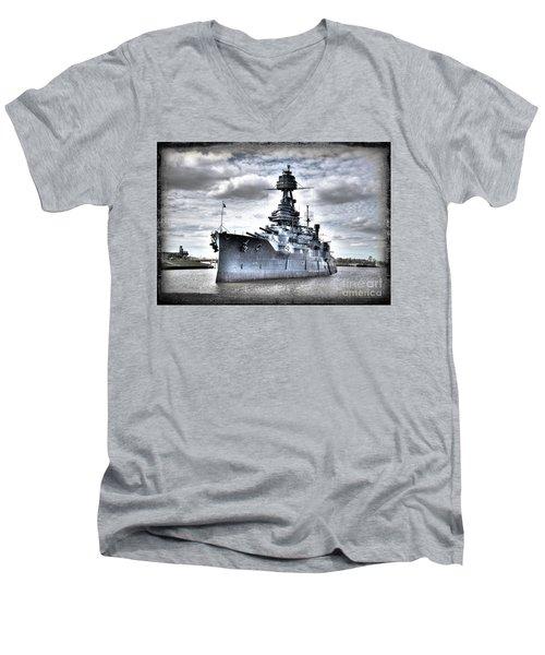 Battleship Texas Men's V-Neck T-Shirt by Savannah Gibbs