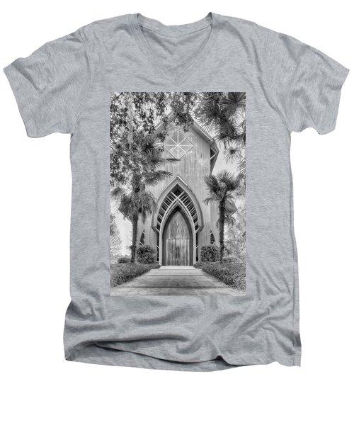 Men's V-Neck T-Shirt featuring the photograph Baughman Meditation Center  by Howard Salmon