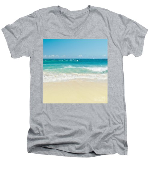 Men's V-Neck T-Shirt featuring the photograph Beach Love by Sharon Mau