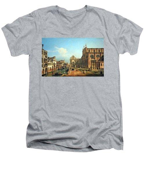 Bellotto's The Campo Di Ss. Giovanni E Paolo In Venice Men's V-Neck T-Shirt by Cora Wandel