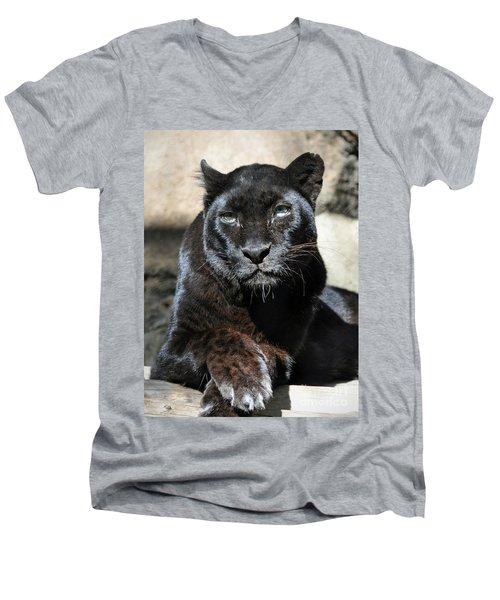Black Leopard Men's V-Neck T-Shirt by Savannah Gibbs