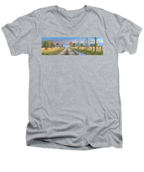 Men's V-Neck T-Shirt featuring the painting Bless Thy Fertile Soil by Mike Brown