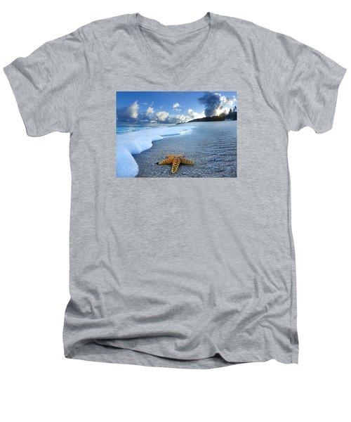 Blue Foam Starfish Men's V-Neck T-Shirt