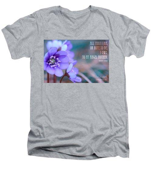 Blue Springtime Flowers Mother's Day Men's V-Neck T-Shirt