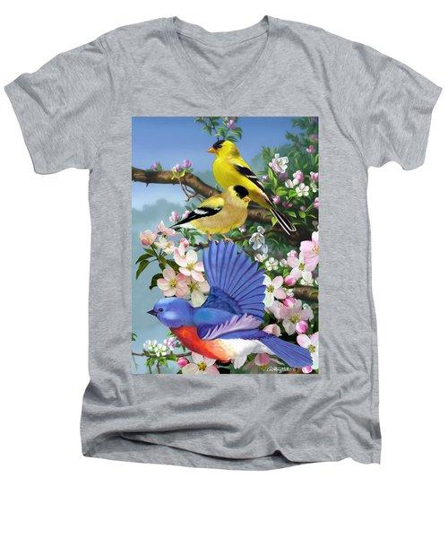 Bluebird And Goldfinch Men's V-Neck T-Shirt