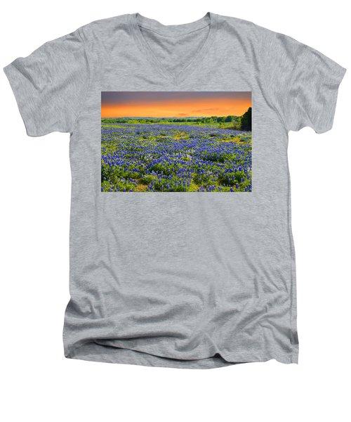 Bluebonnet Sunset  Men's V-Neck T-Shirt by Lynn Bauer
