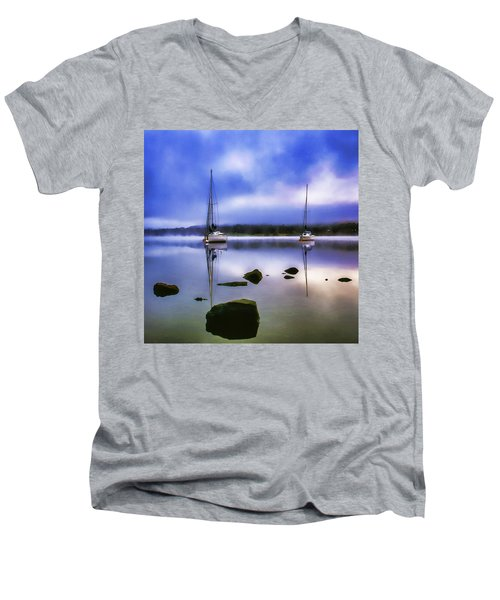 Boats On Ullswater Men's V-Neck T-Shirt