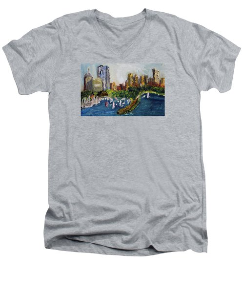 Men's V-Neck T-Shirt featuring the painting Boston Skyline by Michael Helfen