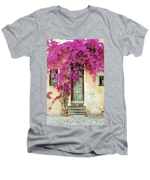 Bougainvillea Doorway Men's V-Neck T-Shirt by Allen Beatty