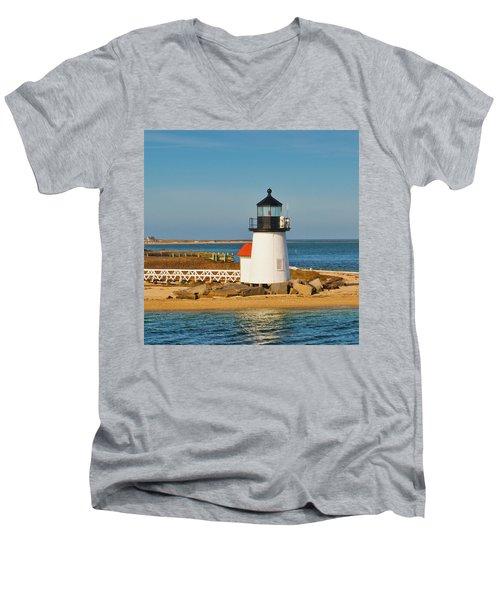 Brant Point Lighthouse Nantucket Men's V-Neck T-Shirt