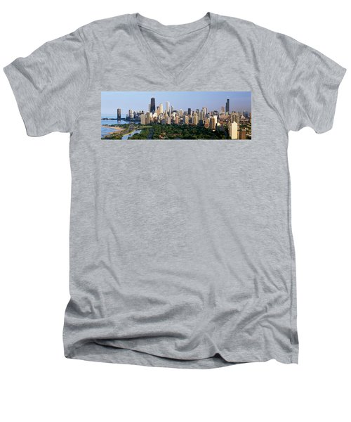 Buildings In A City, View Of Hancock Men's V-Neck T-Shirt