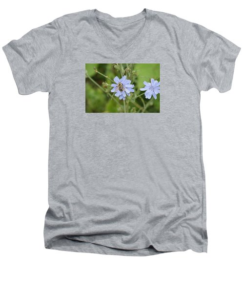 Men's V-Neck T-Shirt featuring the photograph Bumble Bee by Heidi Poulin