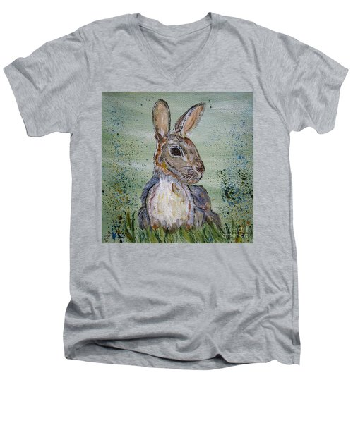 Men's V-Neck T-Shirt featuring the painting Bunny Rabbit by Ella Kaye Dickey