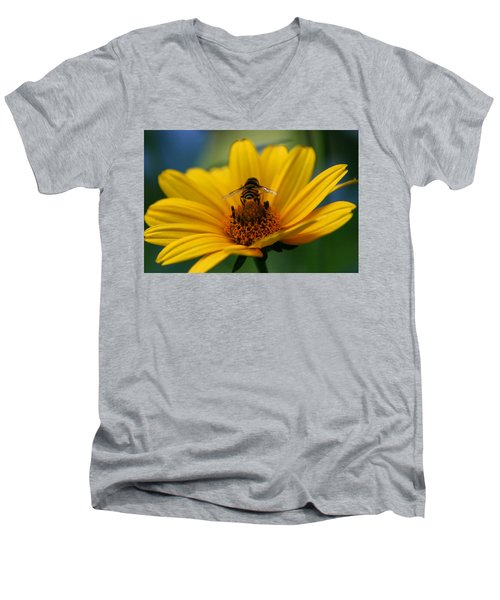 Busy Bee Men's V-Neck T-Shirt by Denyse Duhaime