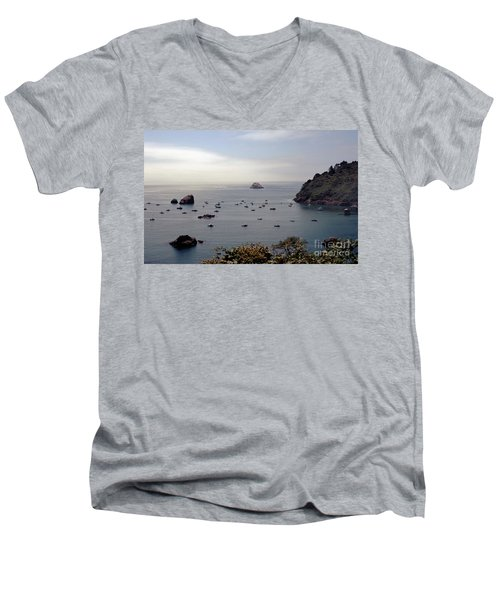 Men's V-Neck T-Shirt featuring the photograph Busy Harbor by Sharon Elliott