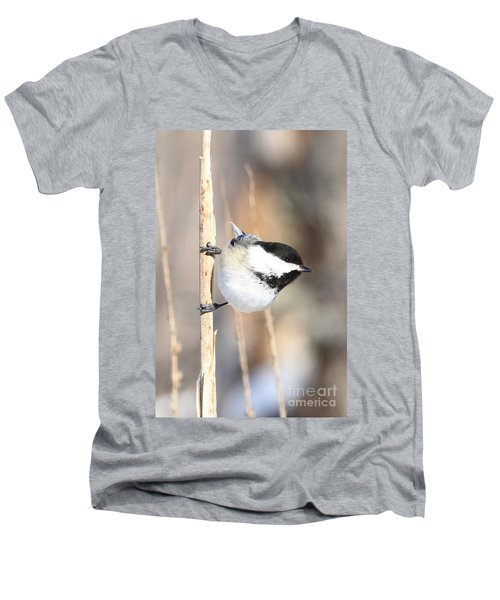 Black Capped Cutie Men's V-Neck T-Shirt by Heather King