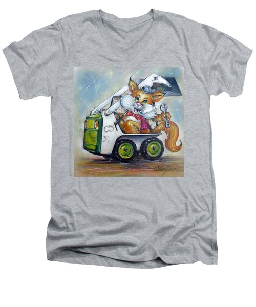 Men's V-Neck T-Shirt featuring the painting Cat C5x 190312 by Selena Boron