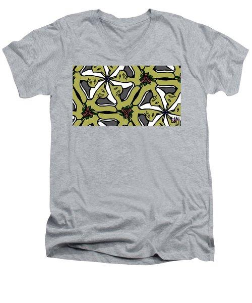 Men's V-Neck T-Shirt featuring the digital art Cat / Shoe / Rose by Elizabeth McTaggart