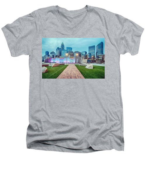 Charlotte City Skyline In The Evening Men's V-Neck T-Shirt