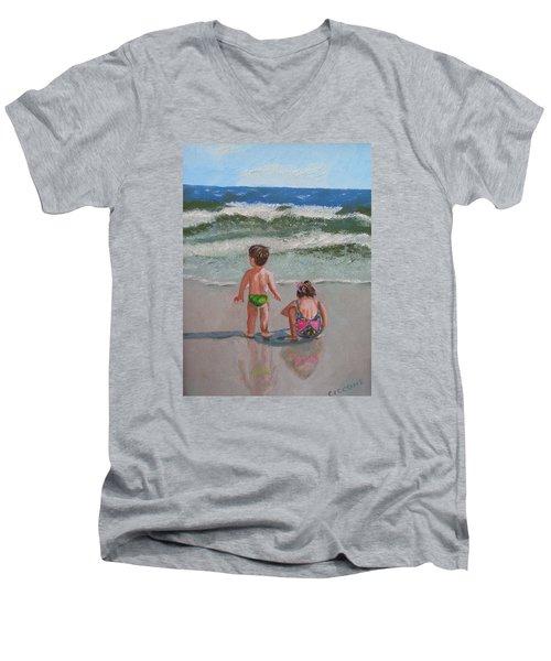 Children On The Beach Men's V-Neck T-Shirt