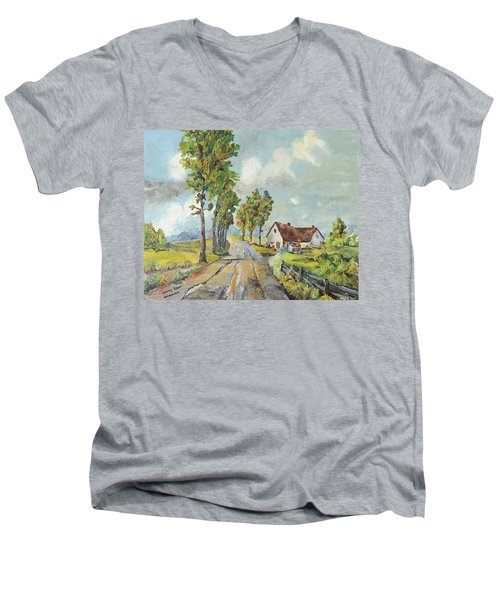 Cottage On Poplar Lane Men's V-Neck T-Shirt
