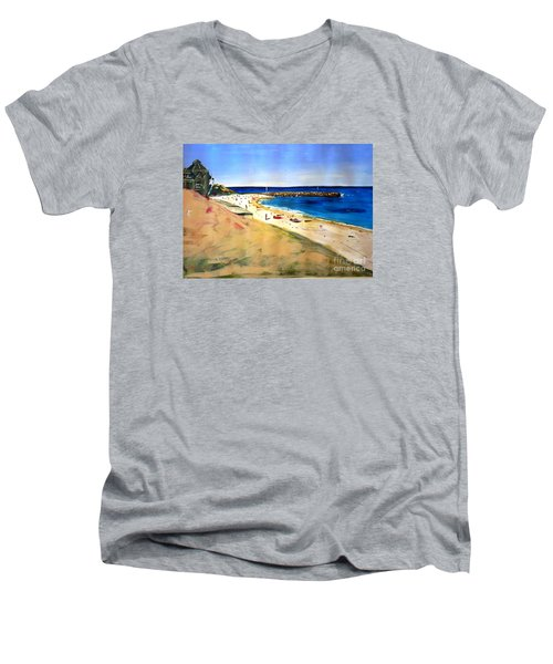 Men's V-Neck T-Shirt featuring the painting Cottesloe Beach by Therese Alcorn