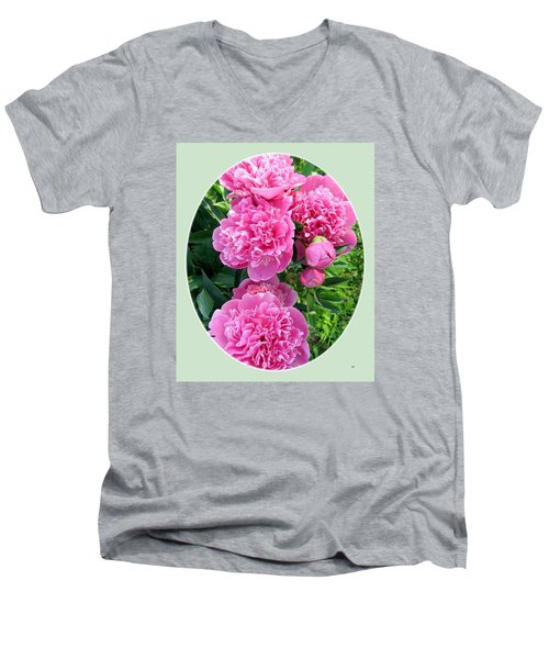 Country Peonies Men's V-Neck T-Shirt by Will Borden