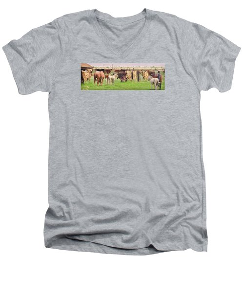 Men's V-Neck T-Shirt featuring the photograph Cow Hides by Marilyn Diaz